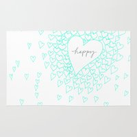 be happy Area & Throw Rugs featuring HAPPY by Monika Strigel®