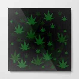 Patron with cannabis present shapes on a black background. Metal Print