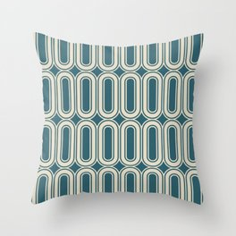 Retro wallpaper style ovals grid pattern teal Throw Pillow