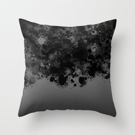 paint splatter on gradient pattern bwmb Throw Pillow