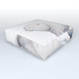 Beluga and baby beluga whale Outdoor Floor Cushion