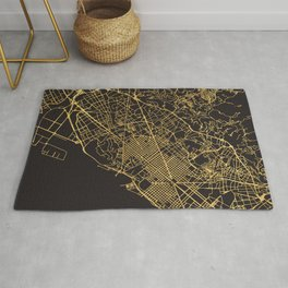 BARCELONA SPAIN GOLD ON BLACK CITY MAP Rug