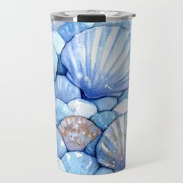 Sea Shells Aqua Travel Mug