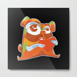 Colorful pug holding a heart cartoon pug dog Metal Print