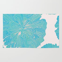 Rose Gold and Blue - Doodle Flower Rug
