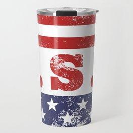 USA Patriotic Rubber Stamp Icon Travel Mug