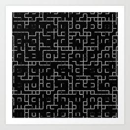 Maze - Black and white, abstract, maze pattern Art Print