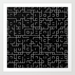 Maze - Black and white, abstract, maze pattern Art Print