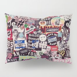 Colorful Sticker Vintage Abstract Pattern Pillow Sham