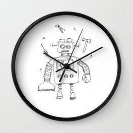 Robot at work, digital illustration by Alis | children art Wall Clock