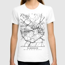 FLORENCE ITALY BLACK CITY STREET MAP ART T-shirt