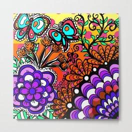 Doodle Art Flowers and Butterflies Pinks Metal Print