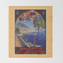 Salerno Italy vintage summer travel ad Throw Blanket