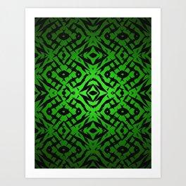 Green tribal shapes pattern Art Print