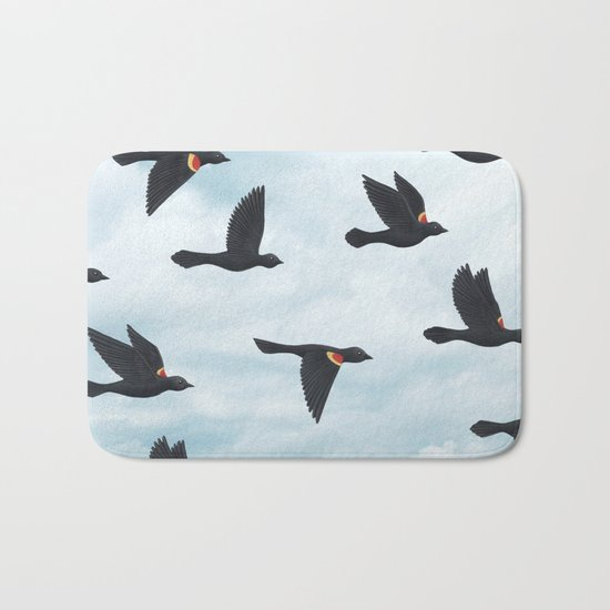 red-winged blackbirds and blue sky Bath Mat