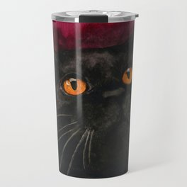 Watercolor Cat 10 Black Cat Travel Mug