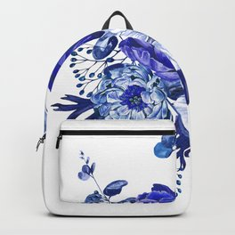 China Blue Porcelain, Asia, Peony, Flower, Floral, Cyan Backpack