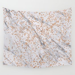 Rose gold diamond confetti on marble Wall Tapestry