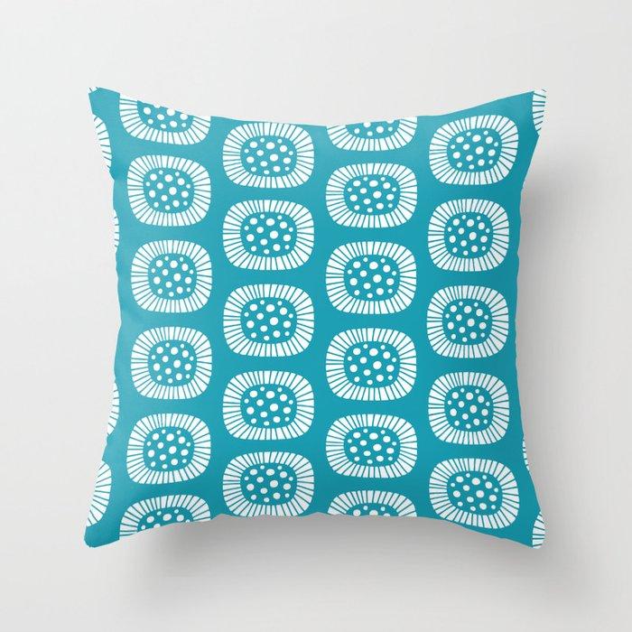 Mid Century Modern Atomic Sunburst Cerulean Throw Pillow
