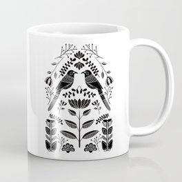 Bird and flora folk art black and white print Coffee Mug