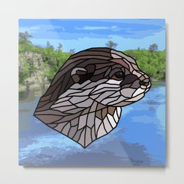 Llyca Queen of the Rivers - Mosaic Otter Metal Print
