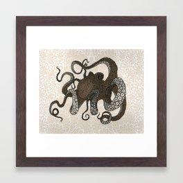 Brown Octopus Framed Art Print