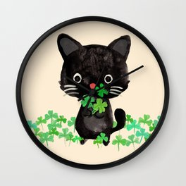 The Luckiest Cat Wall Clock