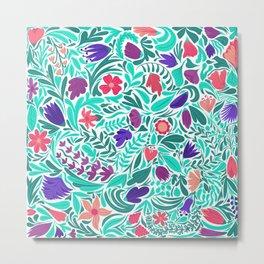 Spring Teal Flowers Leaves Illustration Pattern Metal Print