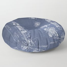 Soyuz Blueprint in High Resolution (dark blue) Floor Pillow