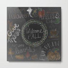 Fall Chalkboard Color Metal Print