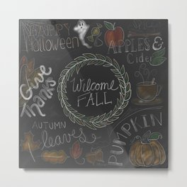 Fall Chalkboard Color Metal Print