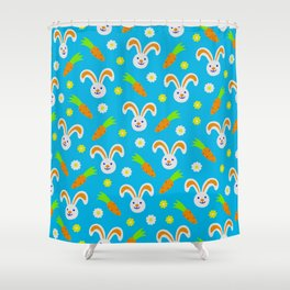 Easter Bunny and Carrots Pattern Shower Curtain