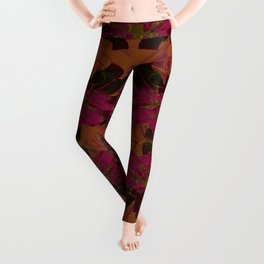 Boho Metallic Flowers- Orange and Pink Decoupage  Leggings