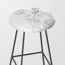 Minimal Line Art Woman with Flowers III Bar Stool