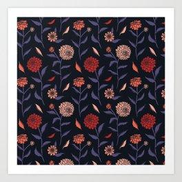 Autumn Dahlias Black&Violet&Pink Art Print