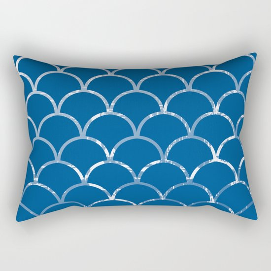 Textured large scallop pattern in snorkel blue Rectangular Pillow