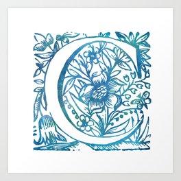 Letter C Antique Floral Letterpress Monogram Art Print