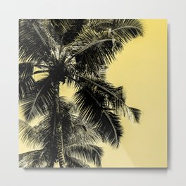High palms poster in yellow Metal Print