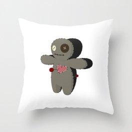 Voodoo doll. Cartoon horror elements. Spooky fear trick or treat Throw Pillow