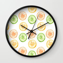 Citrus Trio: Lemon, Lime, and Orange Wall Clock