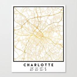 CHARLOTTE NORTH CAROLINA CITY STREET MAP ART Canvas Print