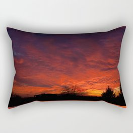 Red sunset and trees silhouette in Warsaw Rectangular Pillow