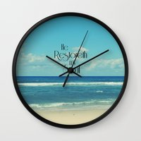 bible verse Wall Clocks featuring He Restoreth My Soul Bible Verse with Beach by Quote Life Shop