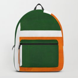 Forest Green Yellow Ochre Mid Century Modern Abstract Minimalist Rothko Color Field Squares Backpack