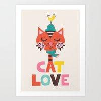 Art Print featuring Cat Love by Jolijou
