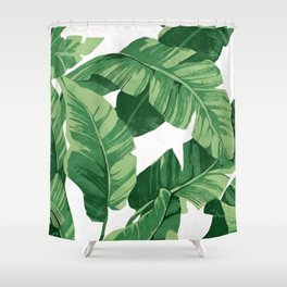 Tropical banana leaves IV Shower Curtain