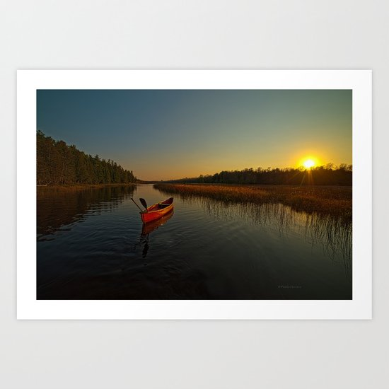 Red Canoe at South River Art Print