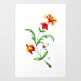 Fantasy vintage plant with different multicolour flowers and green leaf Art Print