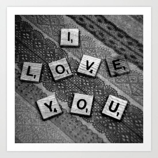 I Love You Darling in Black and White Art Print