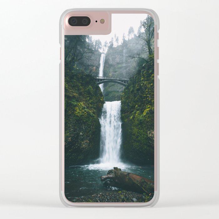 Fog at Multnomah Falls, Oregon Clear iPhone Case